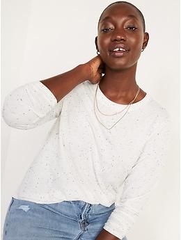T-shirt passe-partout ras du cou moucheté à manches longues pour Femme