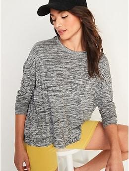 T-shirt surdimensionné à manches longues en tricot douillet pour Femme