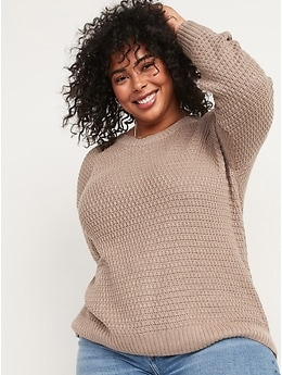 Textured Cotton-Blend Tunic Sweater for Women