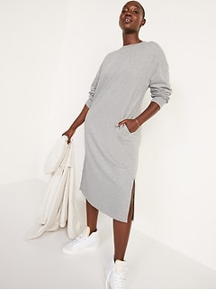 French-Terry Sweatshirt Midi Shift Dress for Women