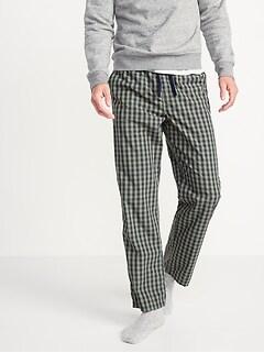 Gingham-Pattern Poplin Pajama Pants for Men