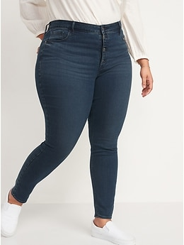 High-Waisted Rockstar Button-Fly Super Skinny Jeans for Women