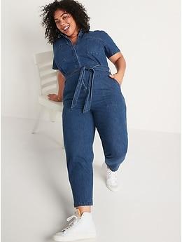 Short-Sleeve Tie-Belt Jean Jumpsuit for Women