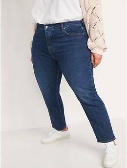 Jean droit à taille très haute avec braguette à boutons pour Femme