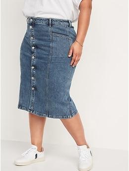 High-Waisted Button-Front Medium Acid-Wash Jean Midi Skirt for Women