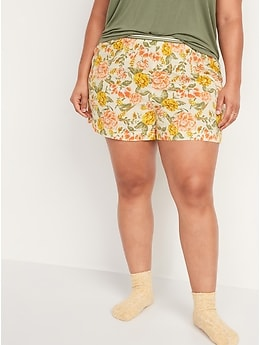 High-Waisted Soft-Woven Pajama Shorts for Women -- 4-inch inseam
