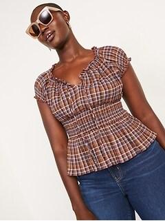 Plaid Smocked-Waist Short-Sleeve Peplum Top for Women