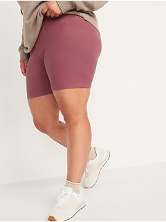 High-Waisted Rib-Knit Long Biker Shorts for Women -- 8-inch inseam