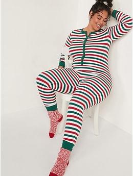 Pyjama une-pièce en tricot isotherme à imprimé assorti pour Femme