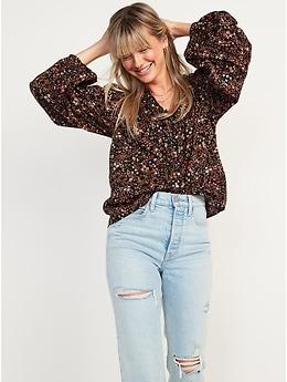Oversized Ruffled V-Neck Floral-Print Blouse for Women