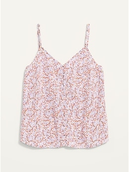 Floral-Print Button-Down Cami Top for Women