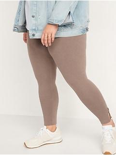 High-Waisted Lattice-Hem Ankle Leggings For Women