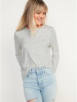 T-shirt luxueux ras du cou en tricot flammé à manches longues pour Femme