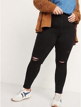 Jean Rockstar d'aspect usé à taille haute et poches Secret amincissant pour femme