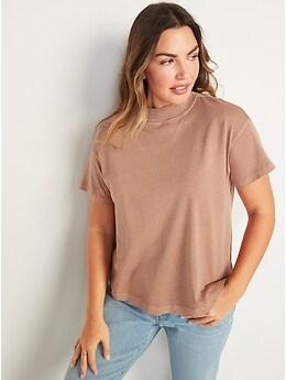 T-shirt tout confort à col montant teint en plongée pour femme