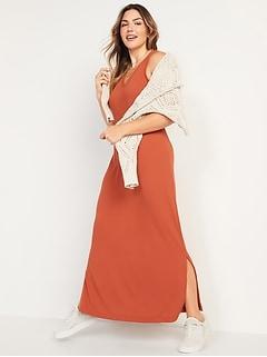 Sleeveless V-Neck Ribbed Maxi Shift Dress for Women