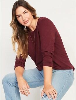 T-shirt ras du cou passe-partout en tricot flammé à manches longues pour Femme