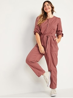 Long-Sleeve Zip-Front Cropped Utility Jumpsuit for Women