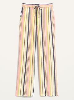 High-Waisted Dobby-Stripe Linen-Blend Wide-Leg Pants for Women
