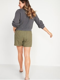 High-Waisted Linen-Blend Tie-Front Utility Shorts for Women -- 4-inch inseam