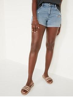 Mid-Rise Boyfriend Ripped Light-Wash Jean Shorts for Women --
