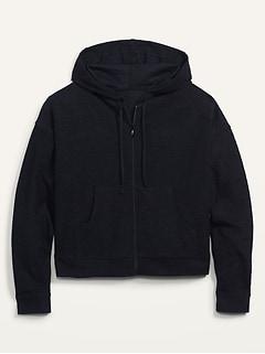 Lightweight Textured Full-Zip Hoodie for Women