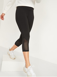 High-Waisted Elevate Mesh-Trim Compression Crop Leggings for Women