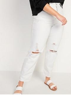 Jean blanc droit déchiré à taille très haute avec braguette à boutons pour Femme