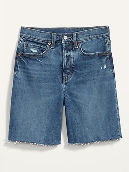 Extra High-Waisted Sky Hi Button-Fly Cut-Off Jean Shorts for Women -- 7-inch inseam