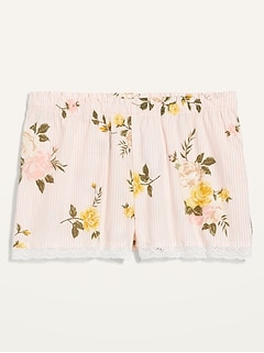 Striped Floral-Print Lace-Trim Pajama Shorts for Women