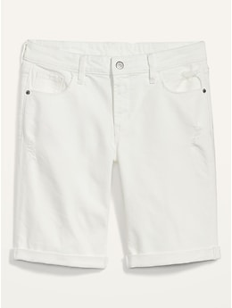 Mid-Rise Ripped White Bermuda Jean Shorts for Women -- 9-inch inseam