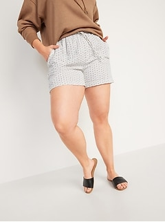 High-Waisted Textured Twill Shorts for Women -- 4-inch inseam