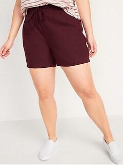 High-Waisted Linen-Blend Shorts for Women -- 4-inch inseam