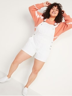 Slouchy Workwear White Jean Short Overalls for Women -- 3.5-inch inseam