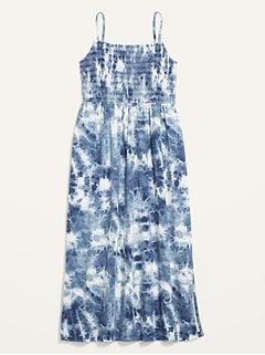 Smocked Fit & Flare Tie-Dye Cami Midi Dress for Women