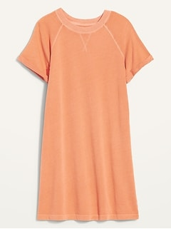 Short-Sleeve Specially Dyed French-Terry Mini Sweatshirt Shift Dress for Women
