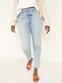 High-Waisted O.G. Straight Button-Fly Cut-Off Jeans for Women