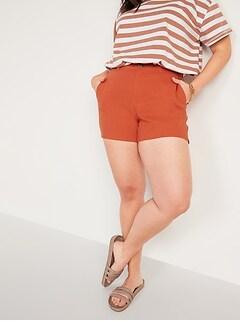 High-Waisted Linen-Blend Everyday Shorts for Women -- 5-inch inseam