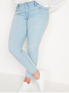 Mid-Rise Rockstar Super Skinny Light-Wash Jeans for Women