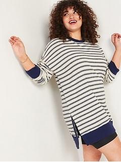 Loose Striped Cali-Fleece Terry Sweatshirt Tunic for Women