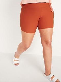 High-Waisted PowerSoft Side-Pocket Biker Shorts for Women -- 6-inch inseam