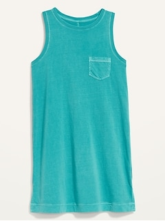 Vintage Specially Dyed Sleeveless Mini T-Shirt Shift Dress for Women