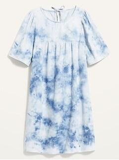 Tie-Dye Jean Swing Dress for Women