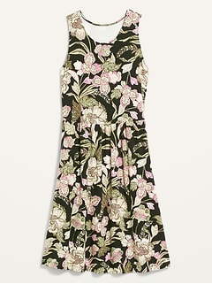 Fit & Flare Printed Sleeveless Dress for Women