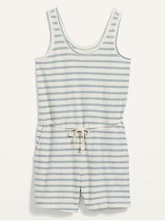 Combinaison-short sans manches, taille définie en tissu éponge rayé, taille forte, entrejambe 10cm