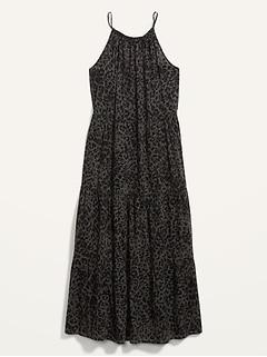 Sleeveless Tiered Leopard-Print Maxi Swing Dress for Women