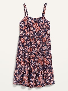 Sleeveless Tiered Floral-Print Swing Dress for Women