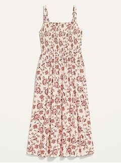 Fit & Flare Sleeveless Smocked Cami Midi Dress For Women