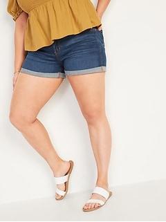 Mid-Rise Dark-Wash Boyfriend Jean Shorts for Women -- 3-inch inseam