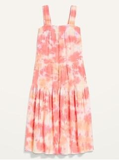 Sleeveless Smocked Tie-Dye Midi Swing Dress for Women